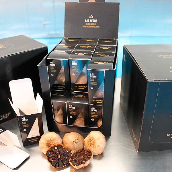 Expositor de 24 cajas de ajo negro de amefruits gourmet